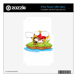 A thinking pet beside his doghouse skins for iPod touch 4G