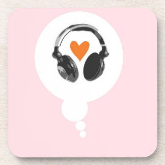 A thought bubble with a heart and headphones drink coaster