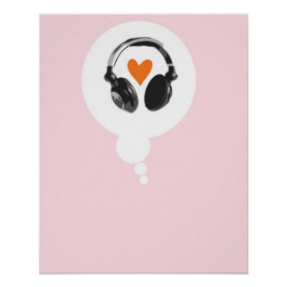 A thought bubble with a heart and headphones poster