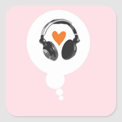 A thought bubble with a heart and headphones square stickers