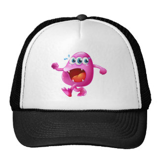 A three-eyed pink beanie monster trying to escape trucker hat
