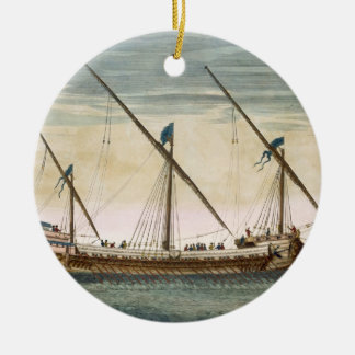 A three-masted Galleass under way by oar, from 'Le Ceramic Ornament
