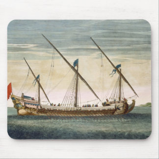 A three-masted Galleass under way by oar, from 'Le Mouse Pad