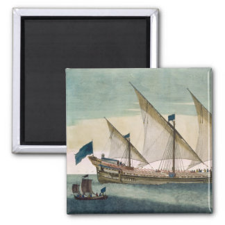 A three-masted Galleass under way by sail, oars sh 2 Inch Square Magnet