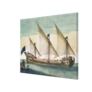 A three-masted Galleass under way by sail, oars sh Canvas Print