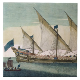 A three-masted Galleass under way by sail, oars sh Ceramic Tile