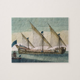 A three-masted Galleass under way by sail, oars sh Jigsaw Puzzle