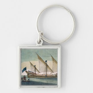A three-masted Galleass under way by sail, oars sh Keychain