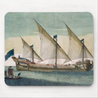 A three-masted Galleass under way by sail, oars sh Mouse Pad