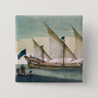 A three-masted Galleass under way by sail, oars sh Pinback Button
