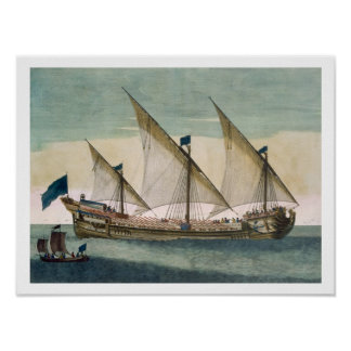 A three-masted Galleass under way by sail, oars sh Poster