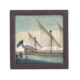 A three-masted Galleass under way by sail oars sh Premium Jewelry Box
