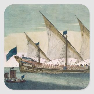 A three-masted Galleass under way by sail, oars sh Square Sticker