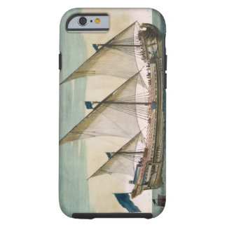 A three-masted Galleass under way by sail, oars sh Tough iPhone 6 Case