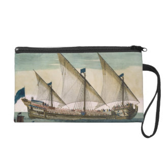 A three-masted Galleass under way by sail, oars sh Wristlet