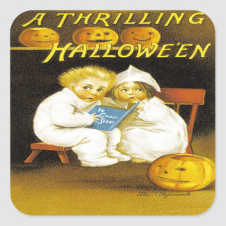 A Thrilling Halloween Square Stickers