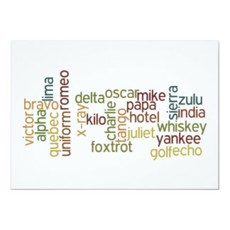 A Through Z Phonetic Alphabet Telephony (Wordle) 5x7 Paper Invitation Card