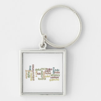 A Through Z Phonetic Alphabet Telephony (Wordle) Silver-Colored Square Keychain