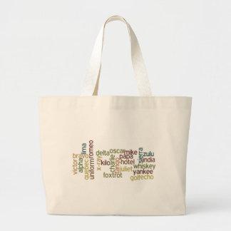 A Through Z Phonetic Alphabet Telephony (Wordle) Large Tote Bag