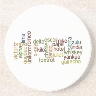 A Through Z Phonetic Alphabet Telephony (Wordle) Sandstone Coaster