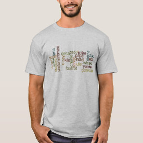 A Through Z Phonetic Alphabet Telephony (Wordle) T-Shirt