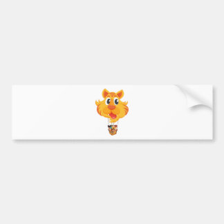 A tiger balloon with a basket full of kids car bumper sticker