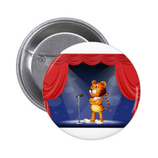 A tiger in the stage 2 inch round button