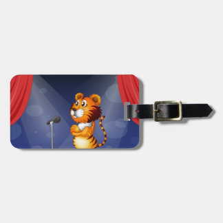A tiger in the stage travel bag tag