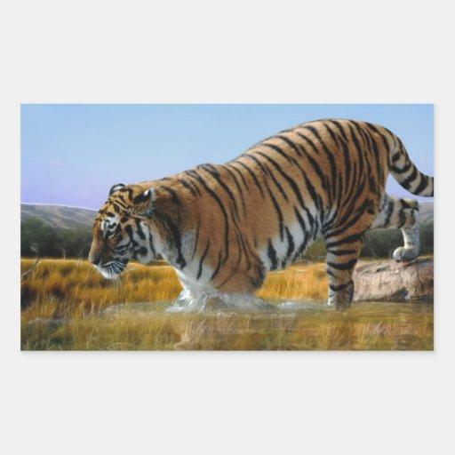 A Tiger loves water Rectangular Sticker