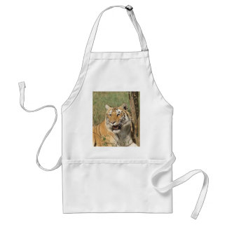 A tiger lying casually, yet alert adult apron