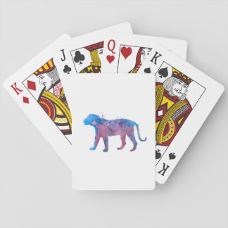 A tiger playing cards