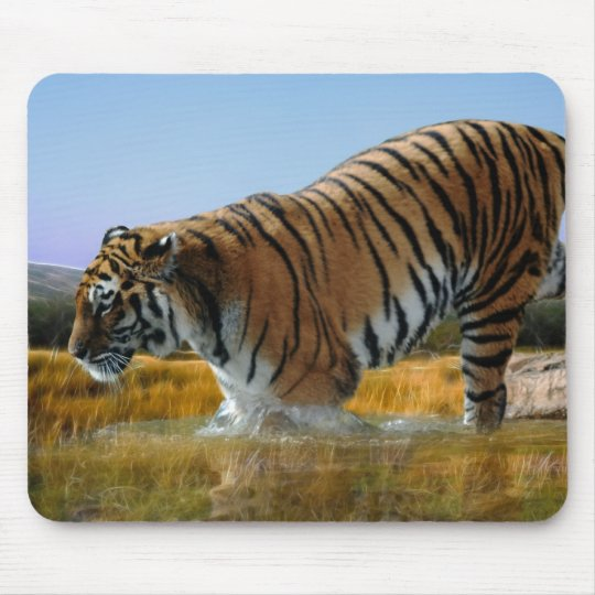 A Tiger wading into water Mouse Pad