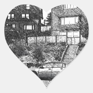 A Timber House in the Berkeley Hills Heart Sticker
