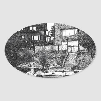 A Timber House in the Berkeley Hills Oval Sticker
