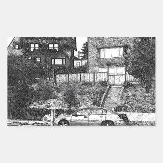 A Timber House in the Berkeley Hills Rectangular Sticker