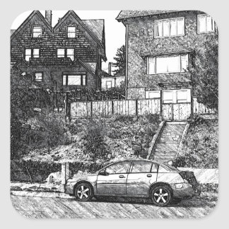A Timber House in the Berkeley Hills Square Sticker