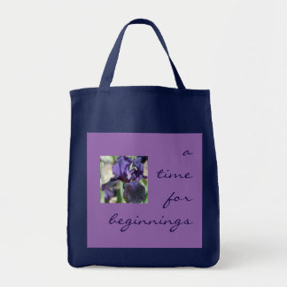 A Time for Beginnings Iris Grocery Tote