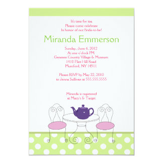 A Time for Tea Green Dot & Pink Bridal Shower 5x7 Card