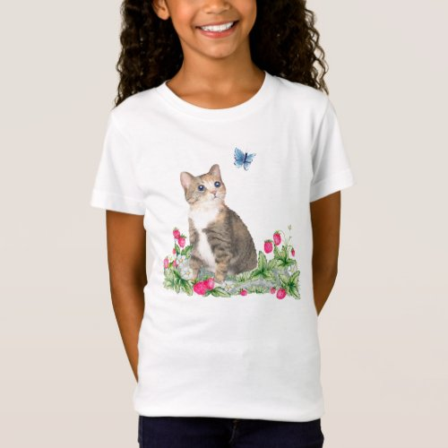 A tiny kitten in a strawberry field T Shirt