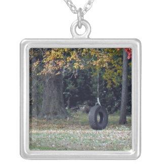 A Tire Swing Square Pendant Necklace
