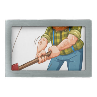 A tired lumberjack with an axe belt buckles