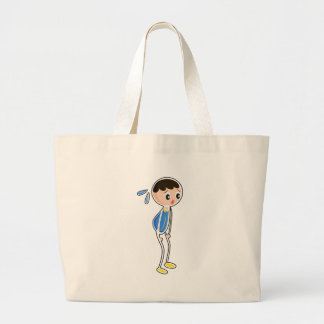 A tired young boy bag