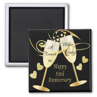 A Toast to a 50th Anniversary | DIY Text 2 Inch Square Magnet