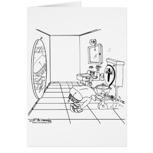 A Toilet Embarrassed by a Butt Crack Greeting Card