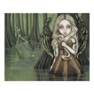 A Tomb in the Swamp gothic angel Art Print