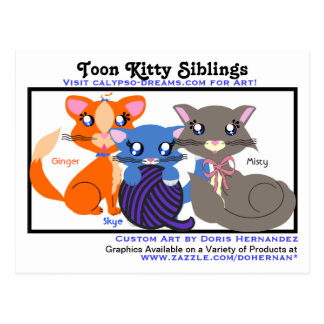 A*  Toon Kitty Siblings Business Card Postcard