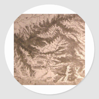 A topographical map classic round sticker