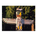 A totem pole In Vancouver, Canada. Postcard