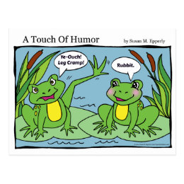 """""""A Touch of Humor"""" Frogs Massage Comic Postcard"""