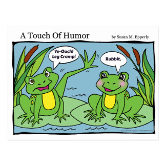 """A Touch of Humor"" Frogs Massage Comic Postcard"